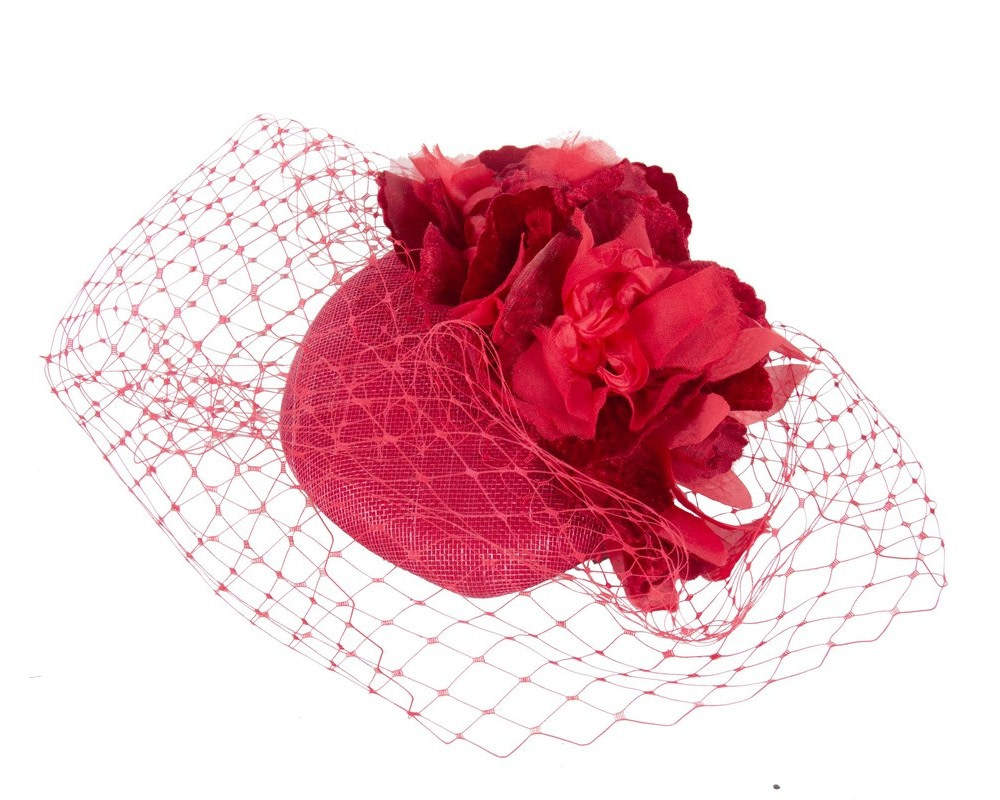 Red pillbox with flower & veil by Fillies Collection
