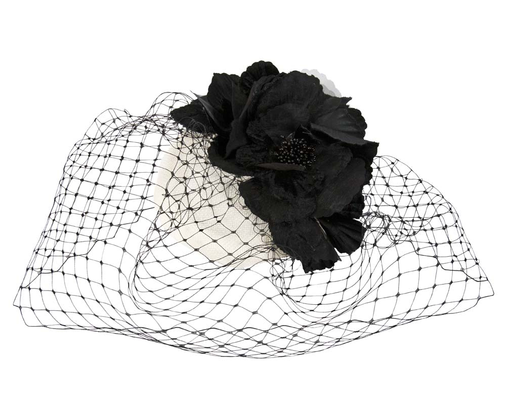 White & black pillbox with flower & veil