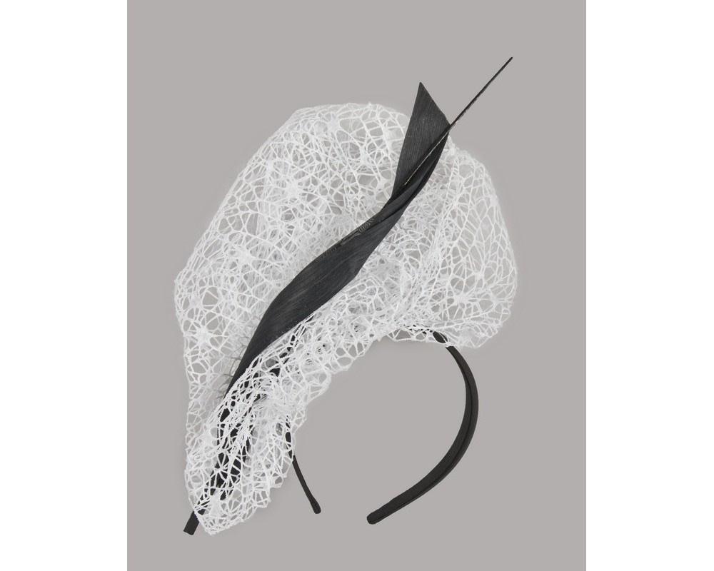 Bespoke white & black lace fascinator