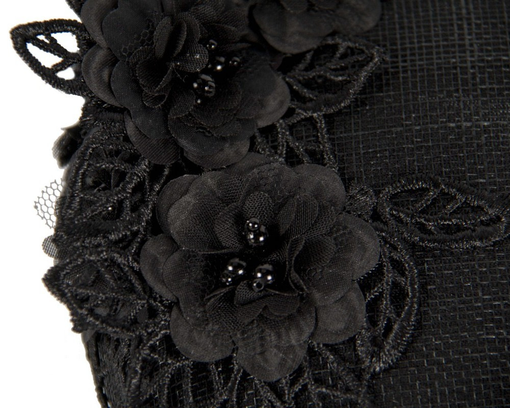 Black pillbox with lace