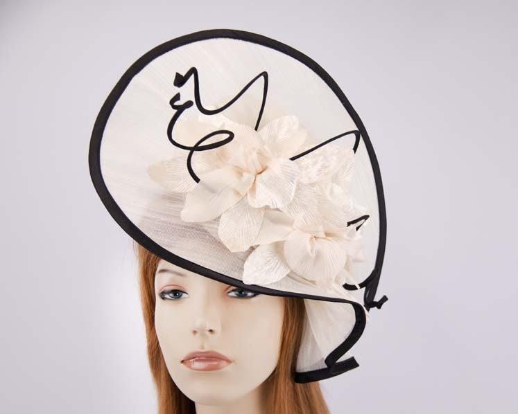 Cream black ladies fashion hat for Melbourne Cup Ascot Derby races buy online in Aus S970CB