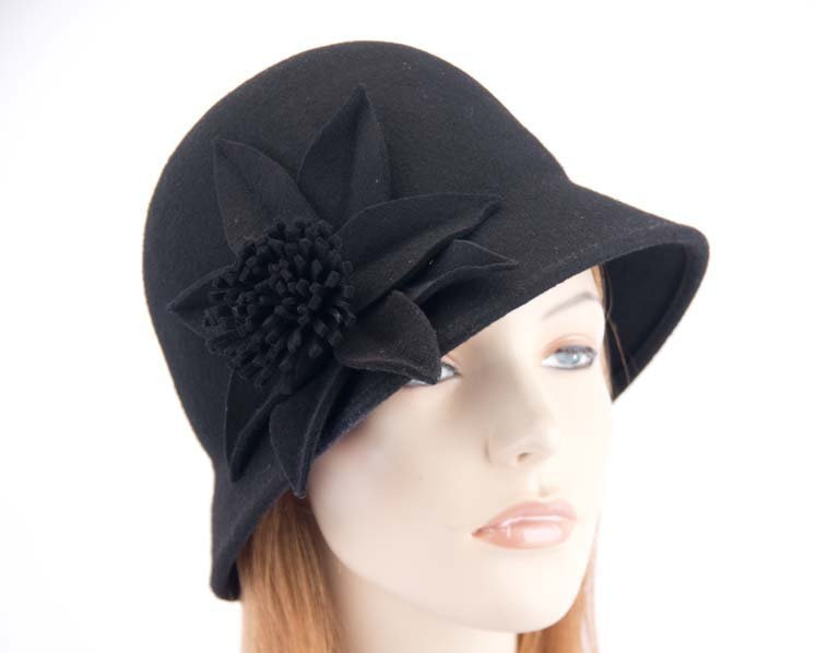 Black felt bucket cloche hat by Max Alexander SP382B