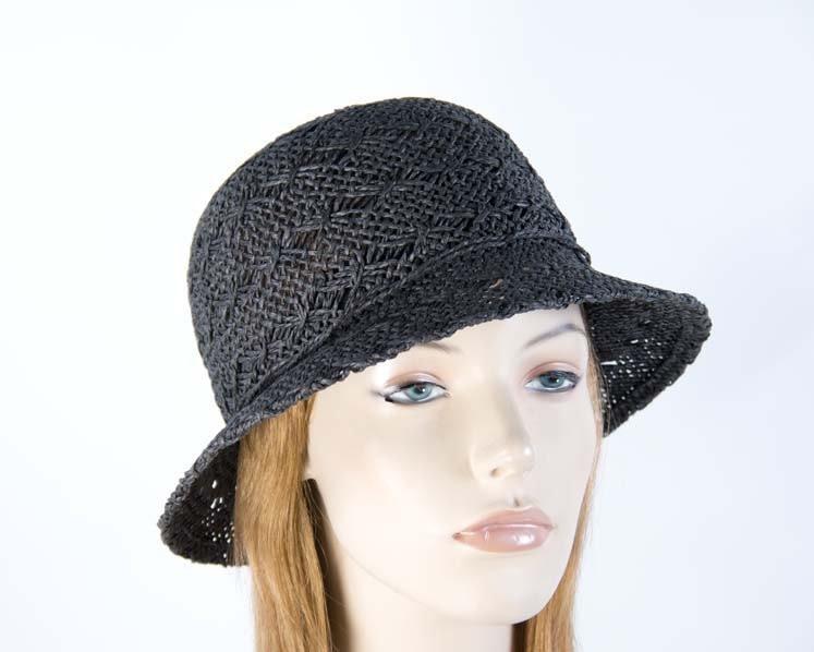 Crocheted black cloche hat