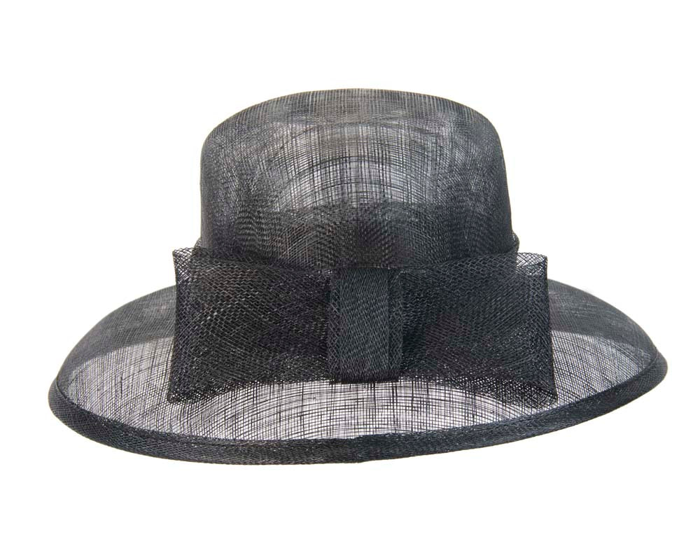 Black wide brim hat with bow