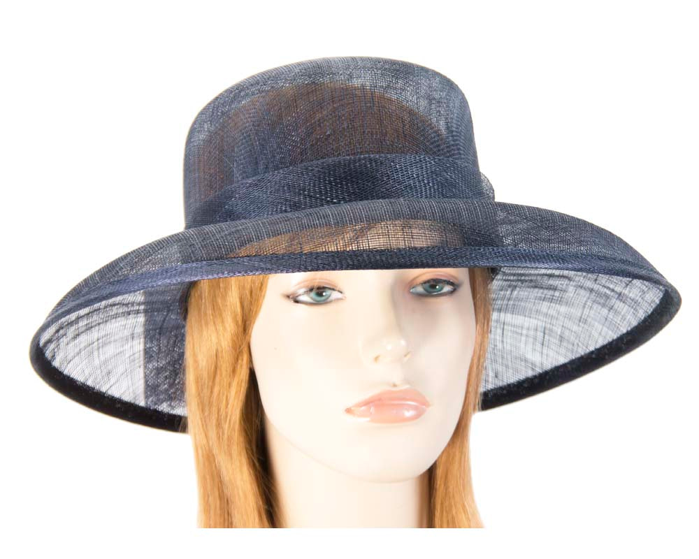 Navy wide brim hat with bow