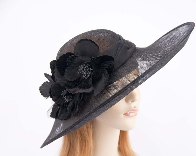 Large black ladies hat with flowers for races and special events SP417B