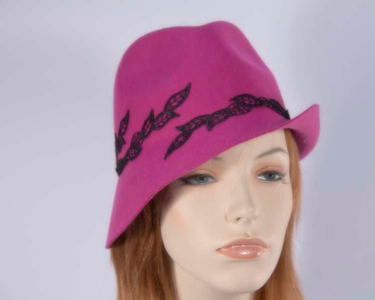 Fuchsia fedora felt fashion hat buy online in Australia J272F