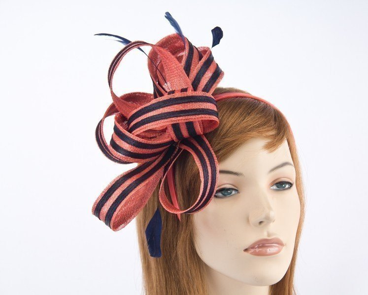 Coral & navy fascinator by Max Alexander for Melbourne Cup racing buy online MA689CN