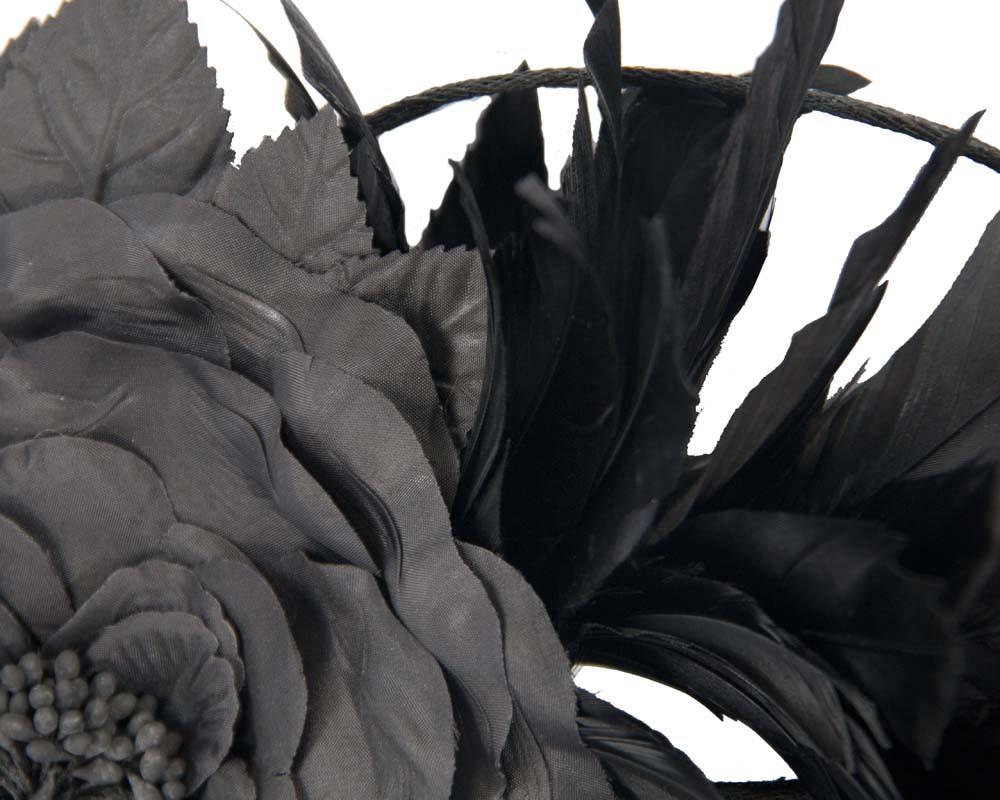 Black flower & feathers fascinator