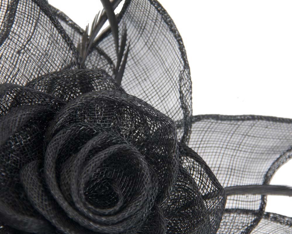 Black sinamay flower fascinator