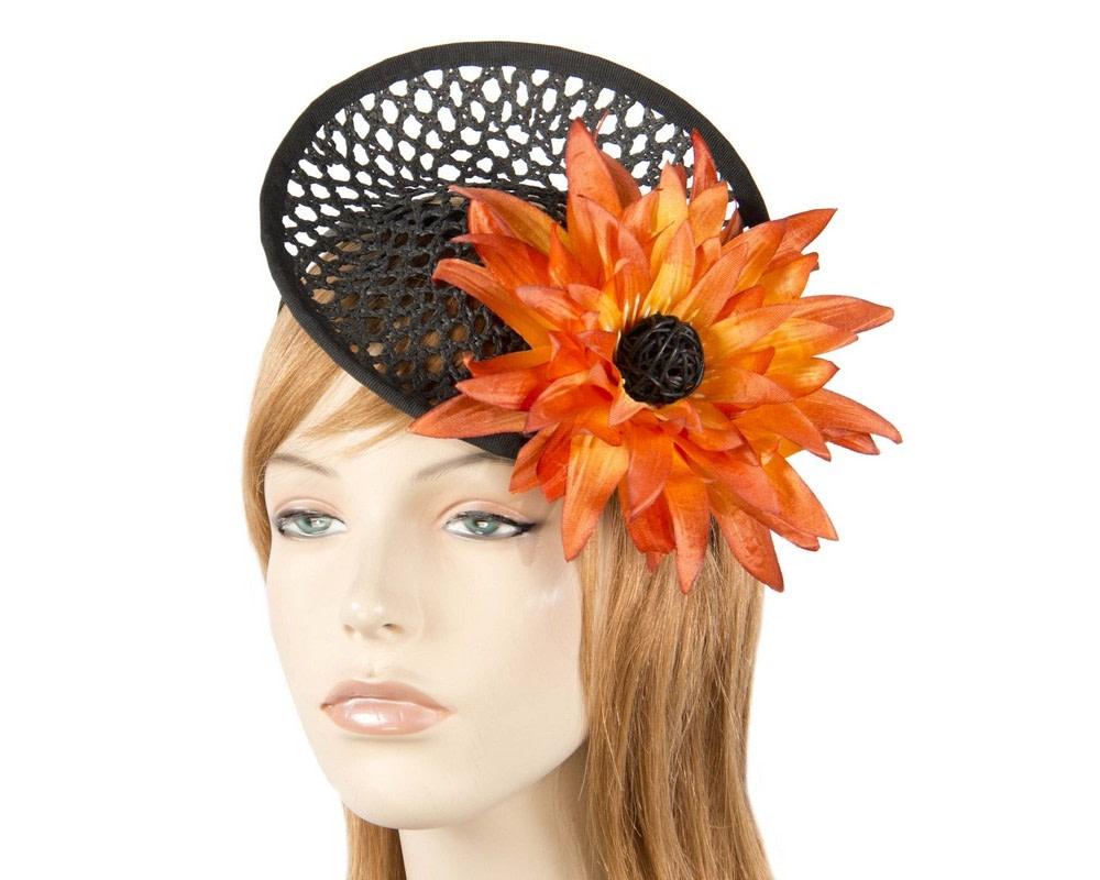 Black fascinator with orange flower
