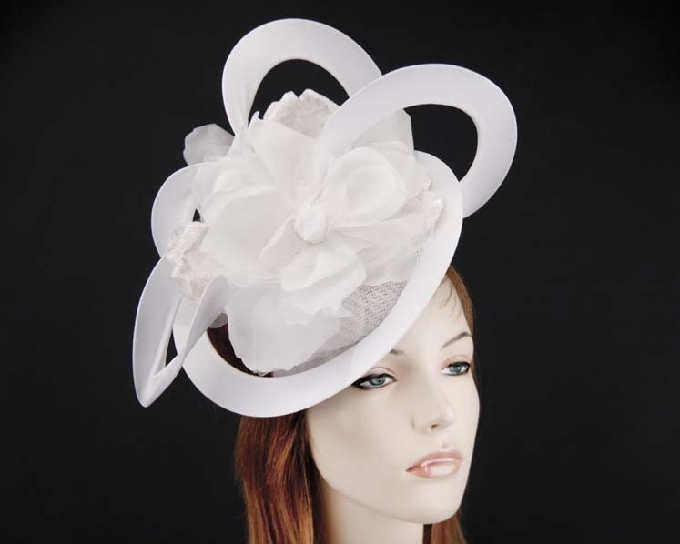 Unusual white Fillies Collection fascinator with flower for Melbourne Cup S155W