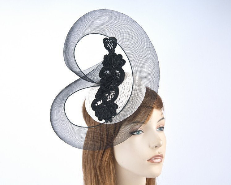 Bright white racing pillbox with black lace for Melbourne Cup S160W