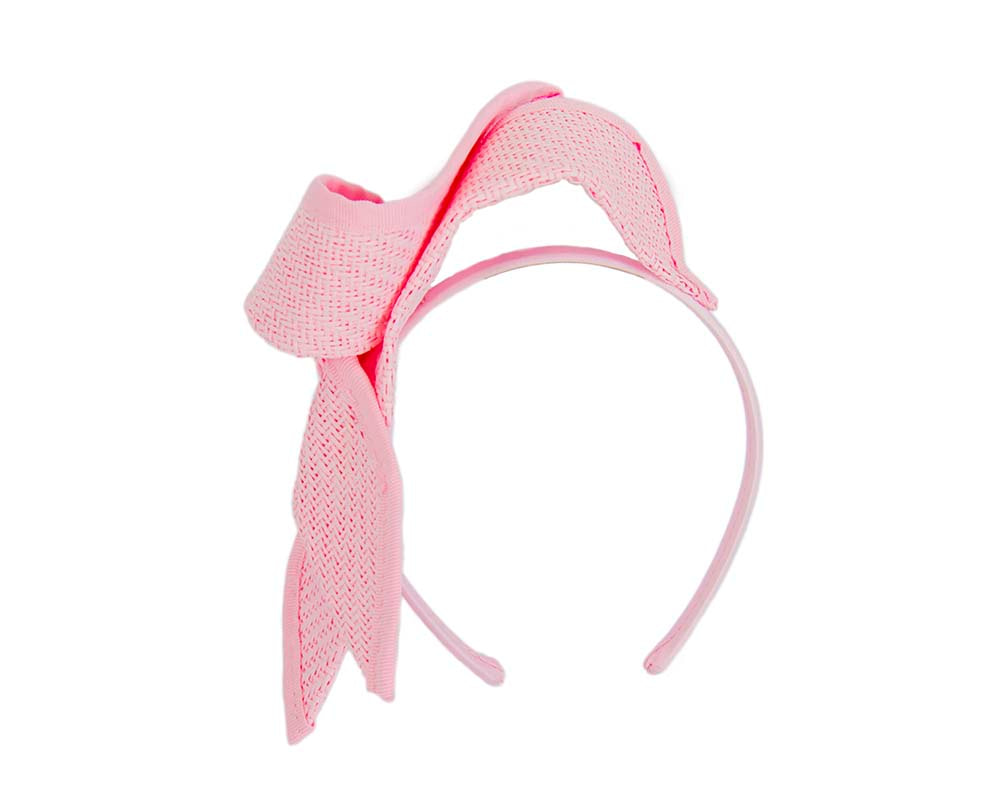 Pink twisted bow fascinator