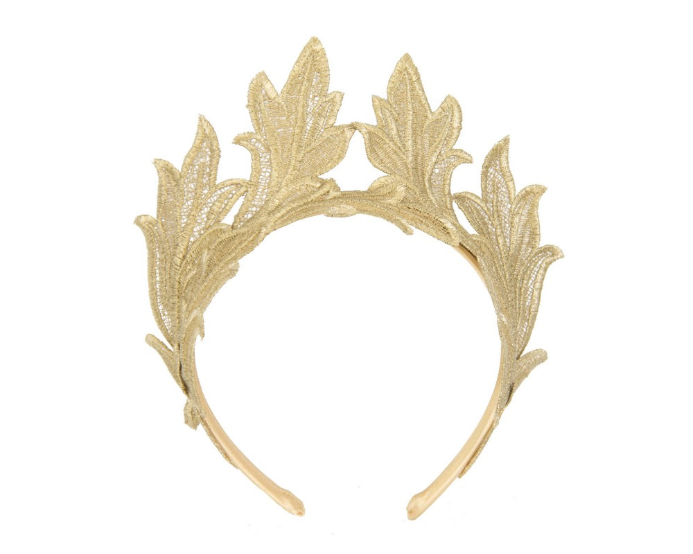 Gold lace crown fascinator headband by Max Alexander