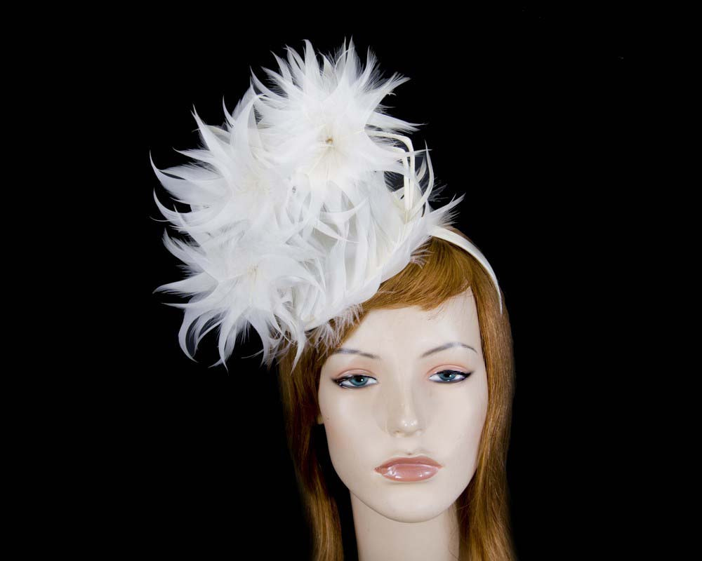 Large cream feather racing fascinator by Max Alexander