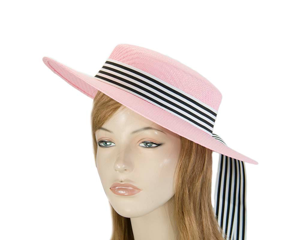 Pink boater hat by Max Alexander