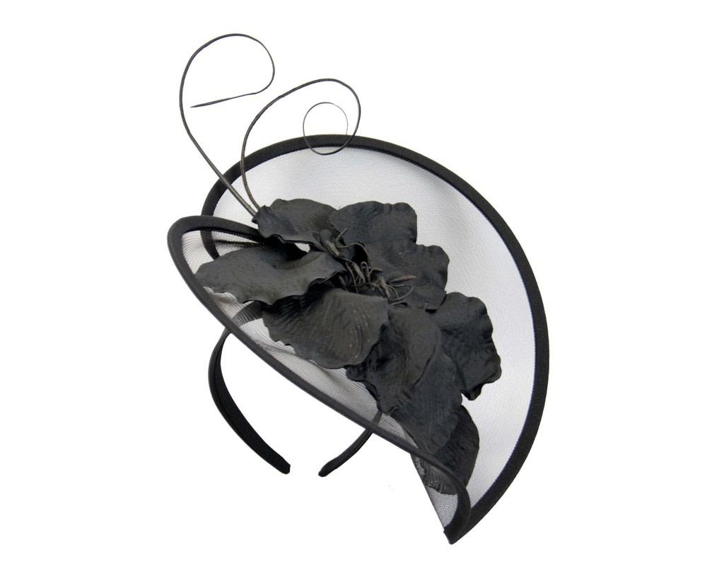Large black flower heart fascinator
