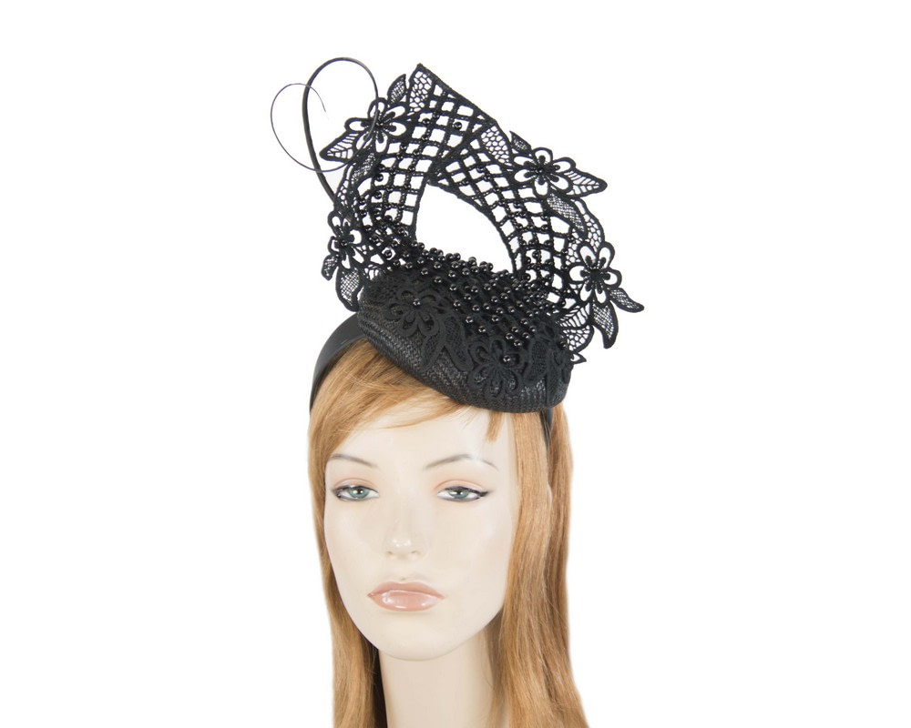 Black racing fascinator with beaded lace by Fillies Collection