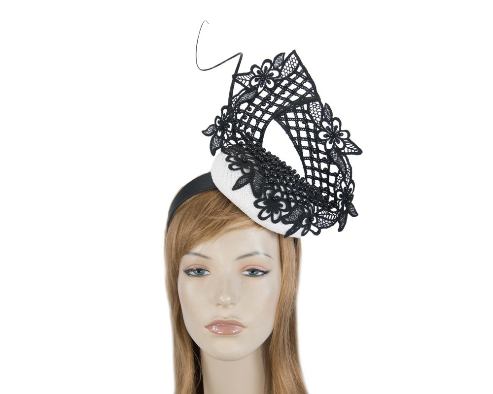 White & black racing fascinator with beaded lace by Fillies Collection
