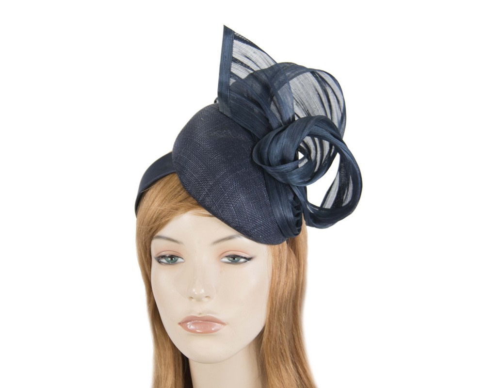 Elegant navy pillbox racing fascinator by Fillies Collection