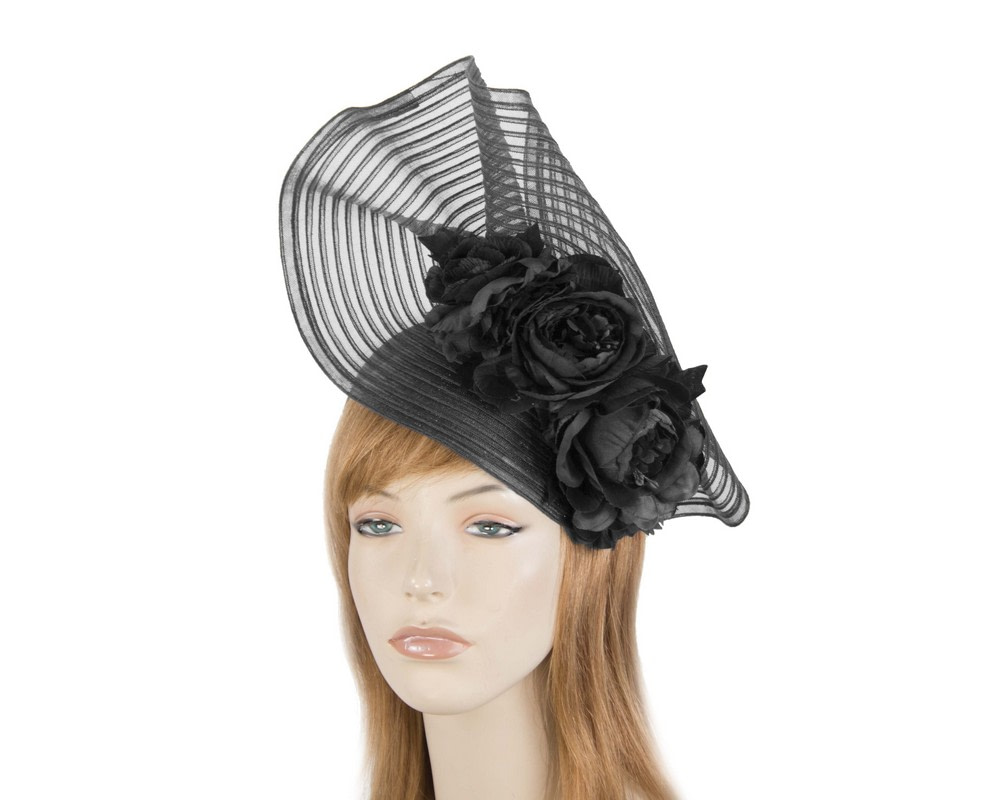 Large black racing fascinator with flowers by Fillies Collection