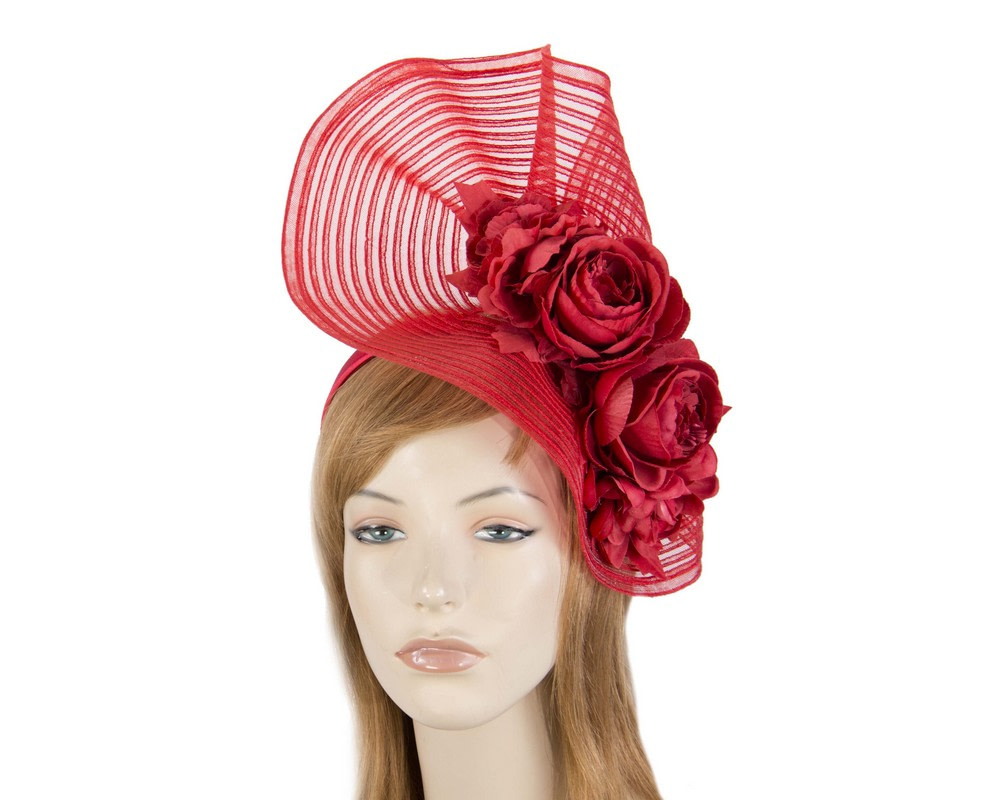 Large red racing fascinator with flowers by Fillies Collection