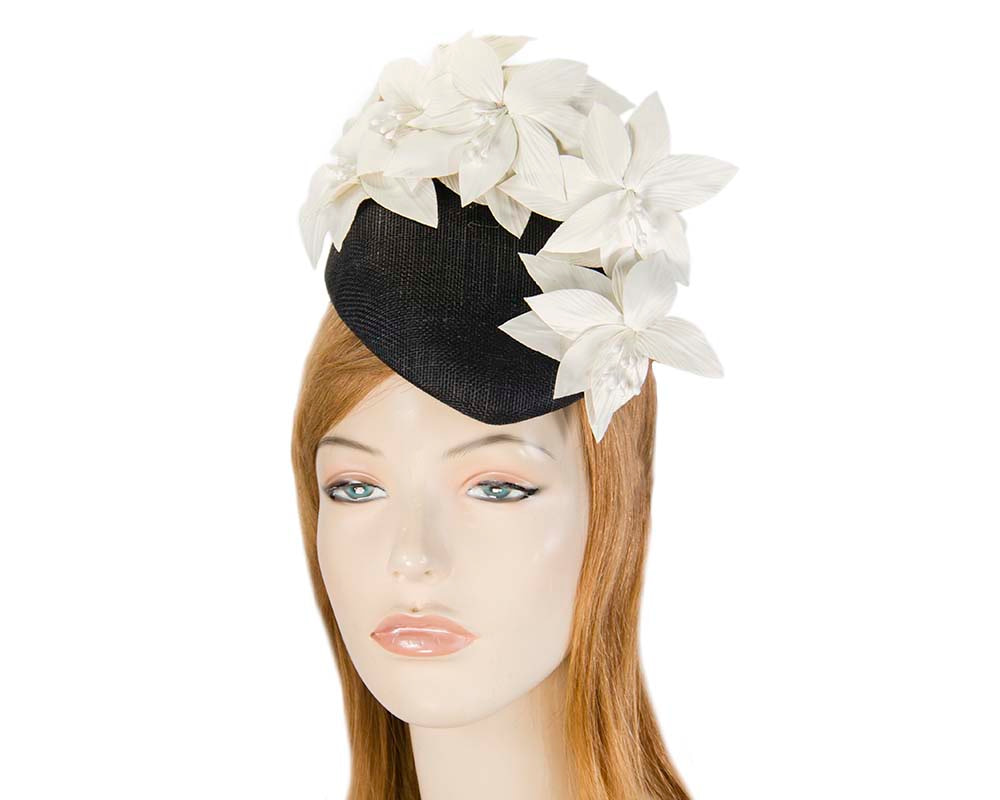 Black & cream pillbox with leather flowers by Fillies Collection