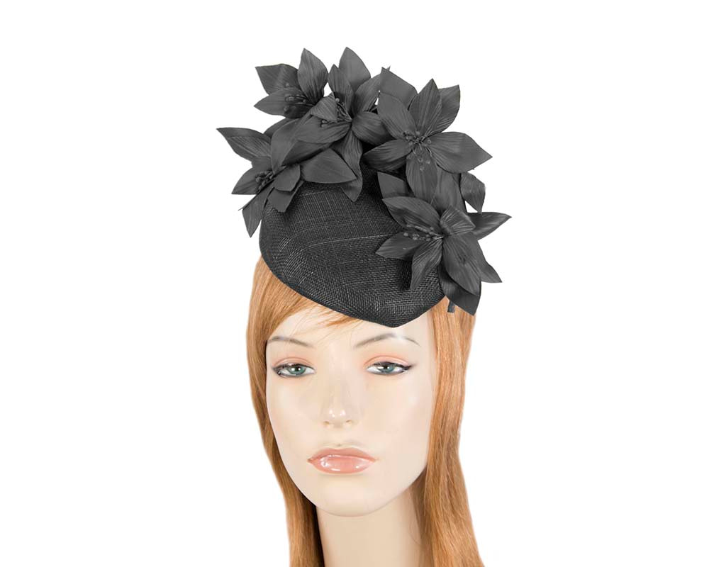 Black pillbox with leather flowers by Fillies Collection