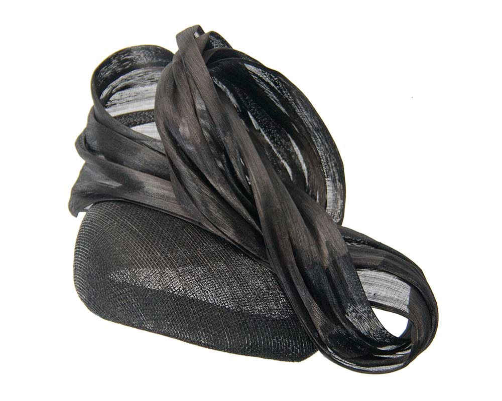 Black pillbox fascinator with silk abaca bow by Fillies Collection
