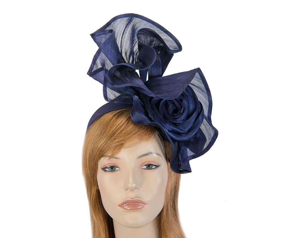 Twisted navy designers fascinator by Fillies Collection