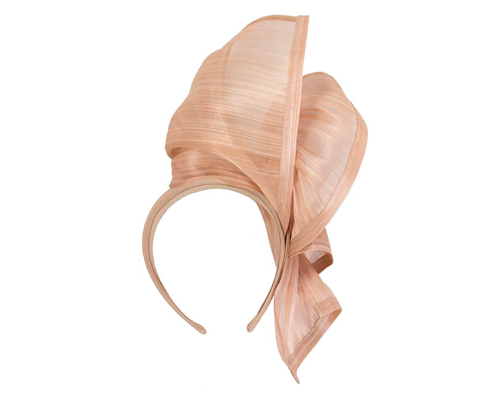 Bespoke nude silk abaca racing fascinator by Fillies Collection