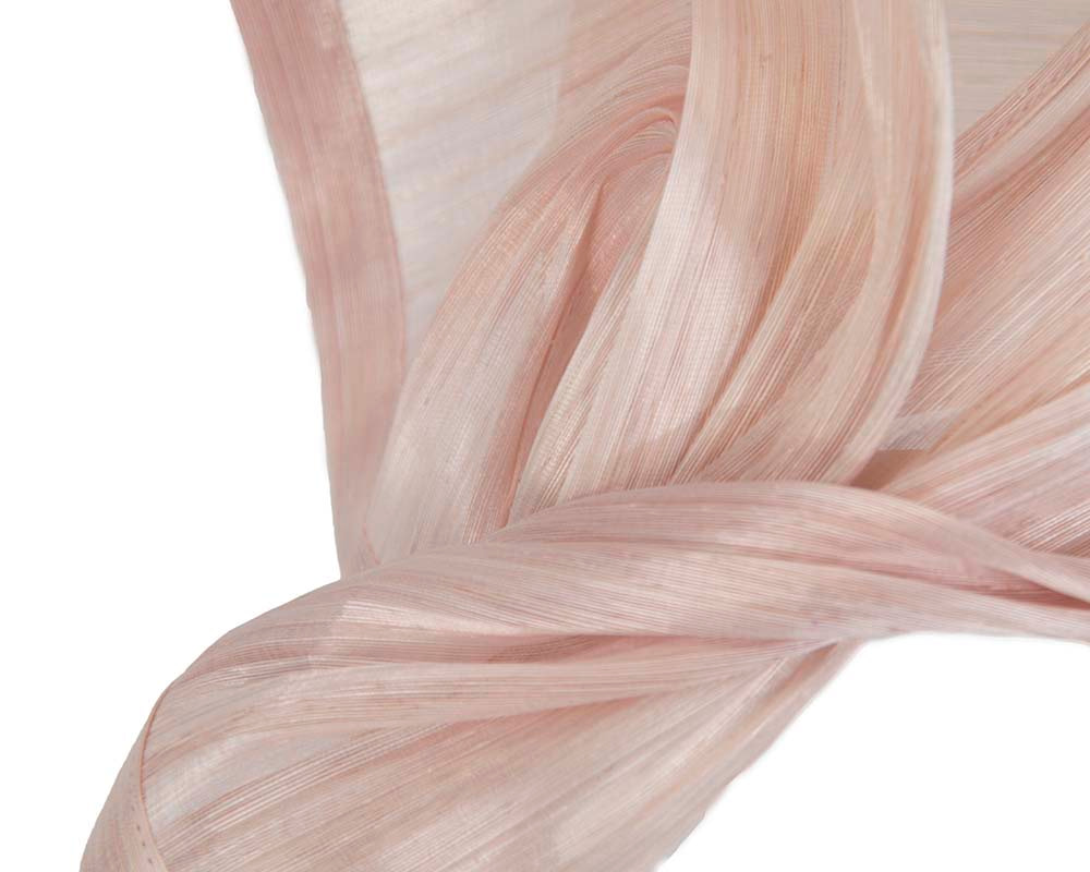 Bespoke pink silk abaca racing fascinator by Fillies Collection