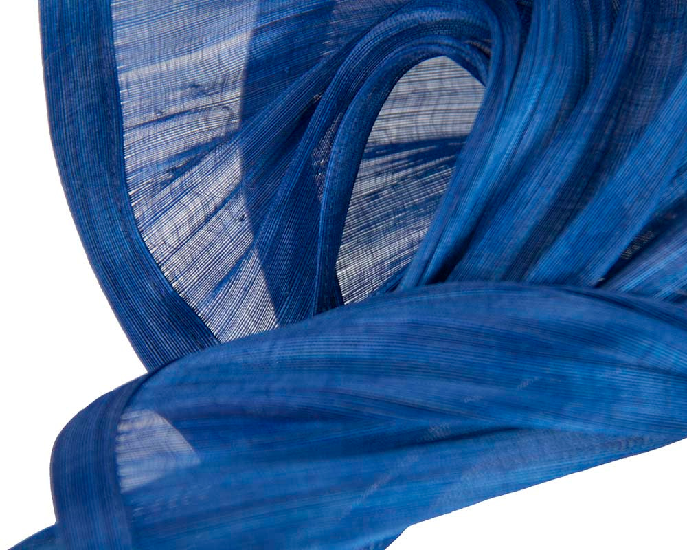 Bespoke royal blue silk abaca racing fascinator by Fillies Collection