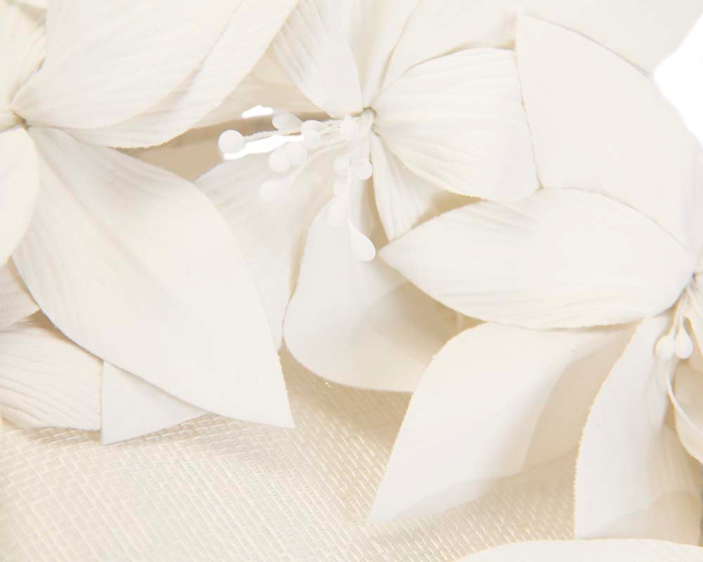 Cream pillbox with leather flowers by Fillies Collection