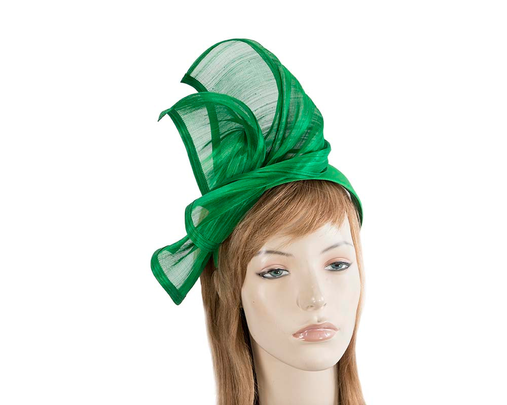 Bespoke green silk abaca racing fascinator by Fillies Collection