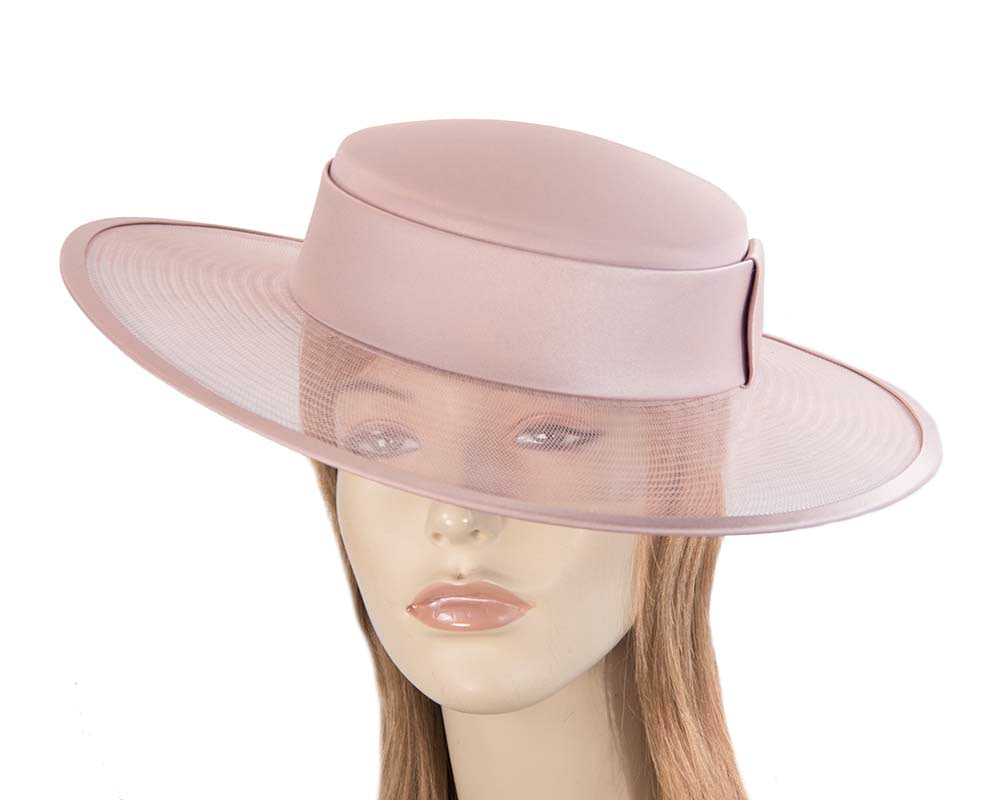Dusty pink designers boater hat