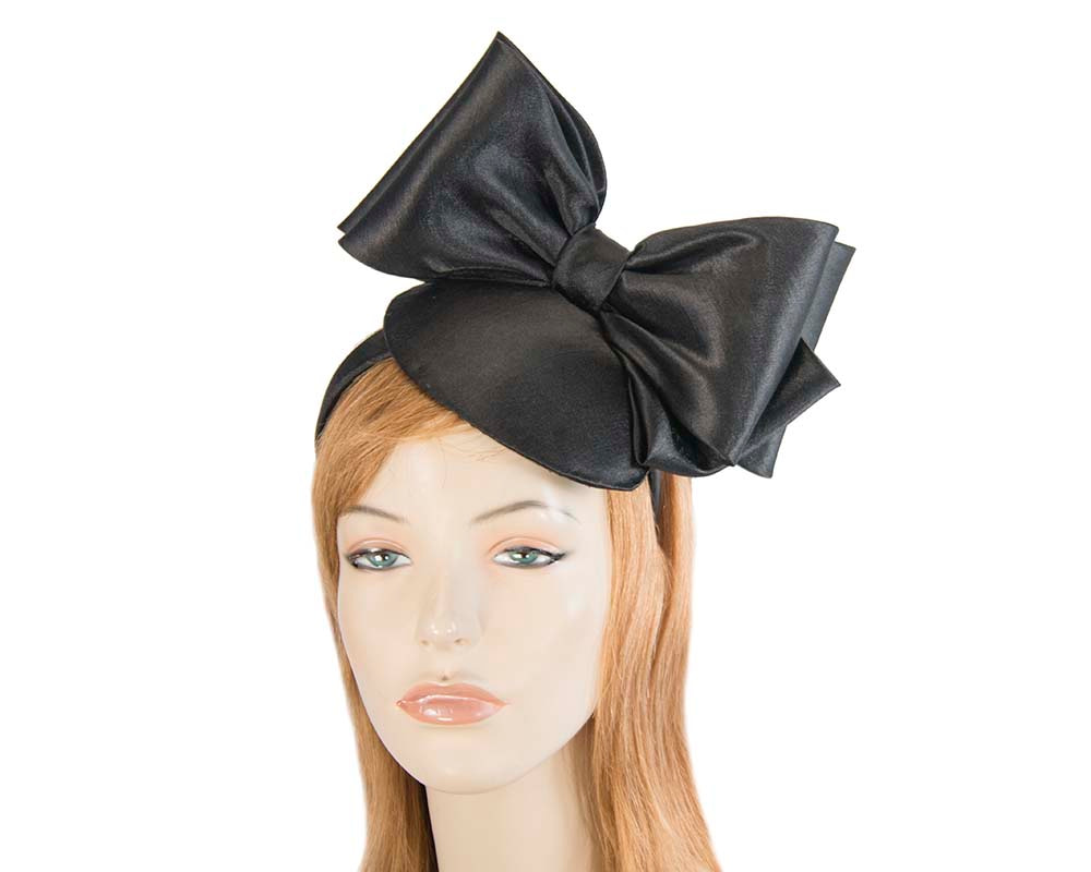 Black satin fascinator with big bow by Max Alexander