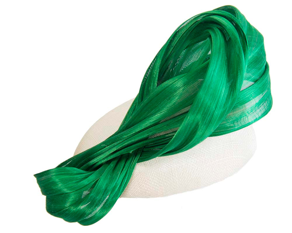 Cream & green pillbox with silk abaca bow by Fillies Collection