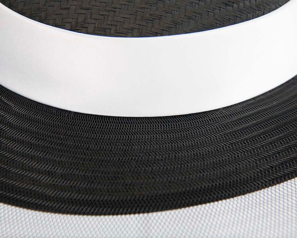 Bespoke black & white wide brim boater hat