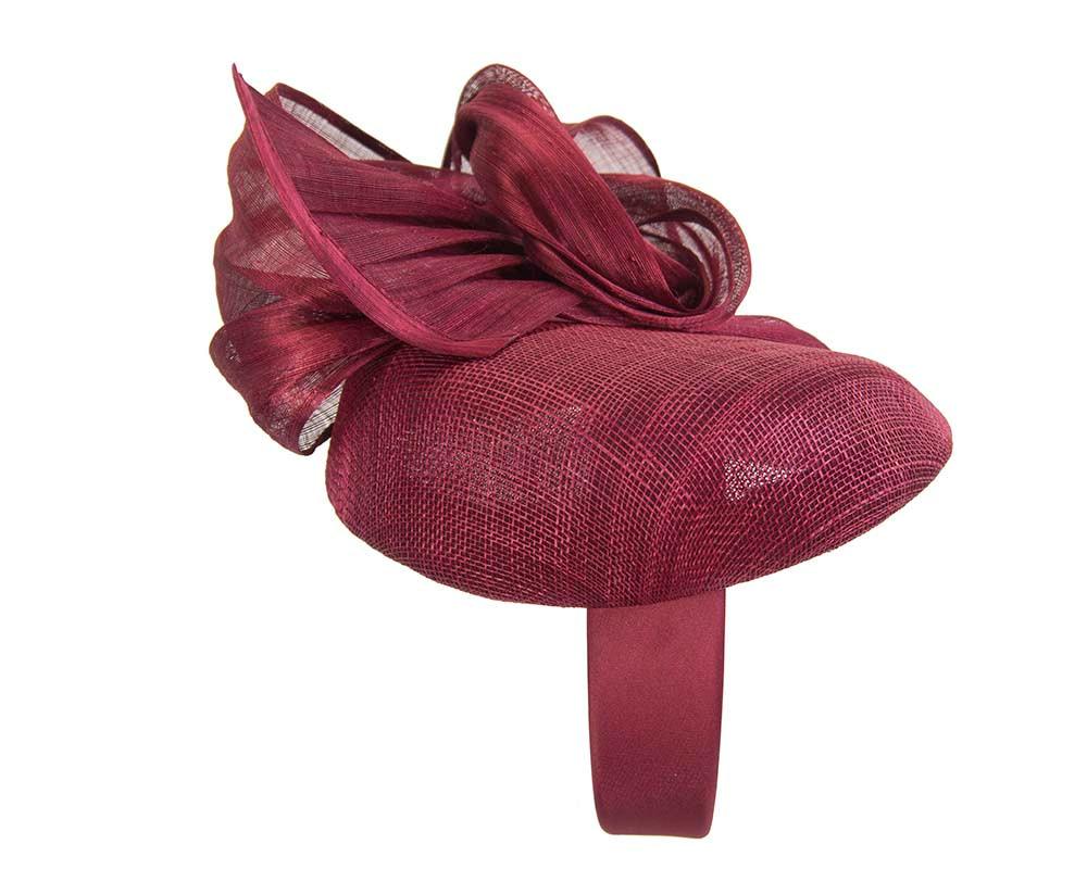 Elegant burgundy pillbox racing fascinator by Fillies Collection
