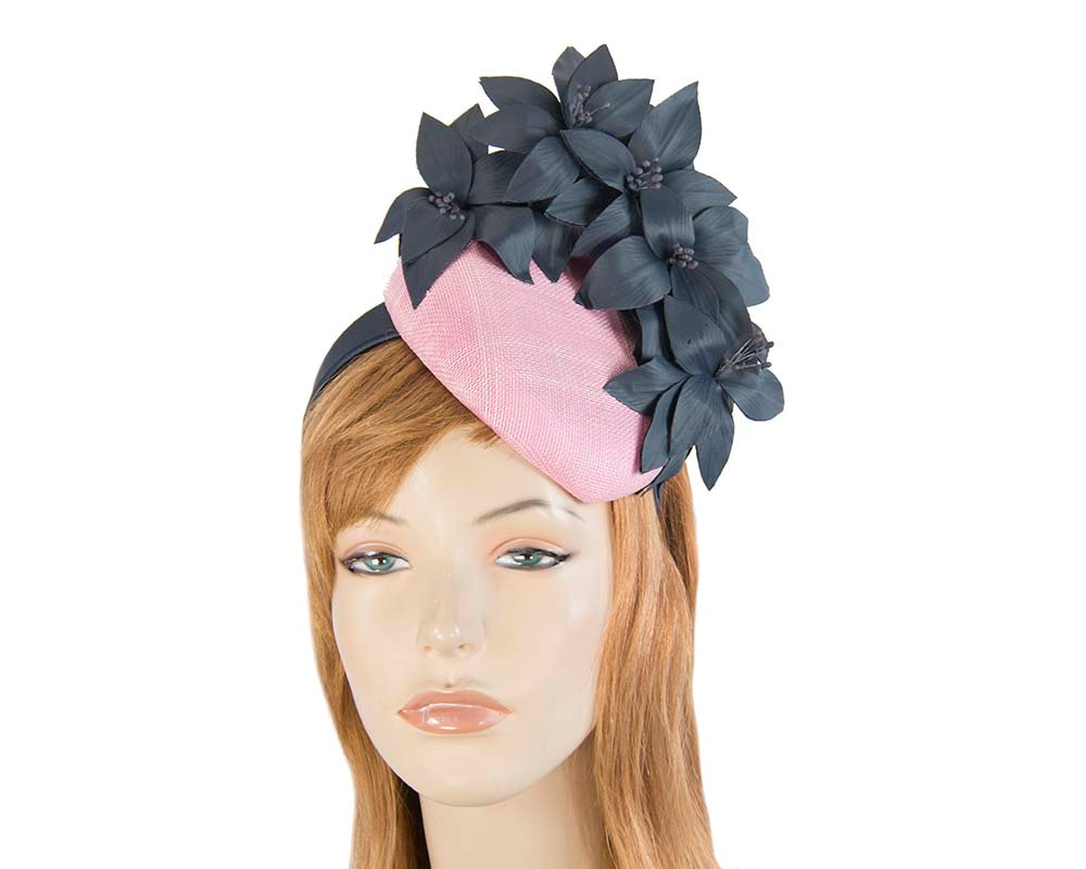 Pink & navy pillbox with leather flowers by Fillies Collection
