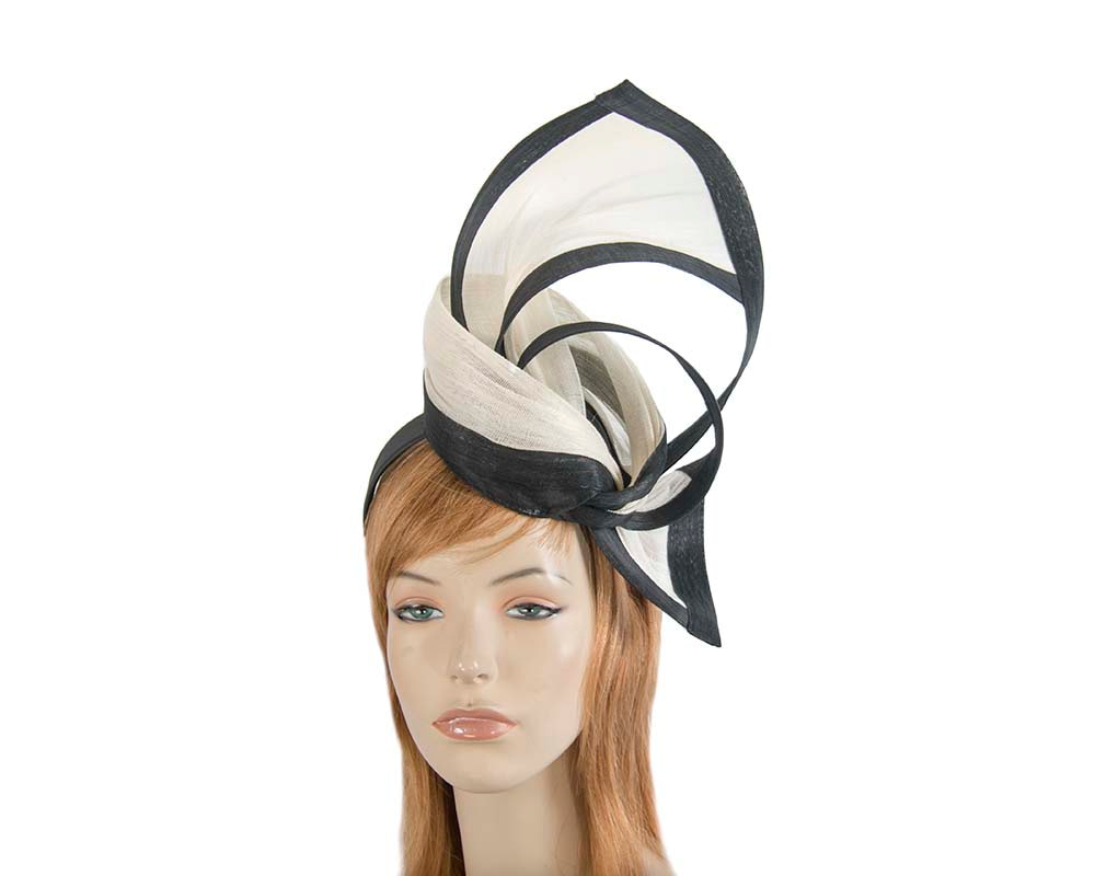 Exclusive cream & black tall fascinator for Melbourne Cup races S159CB