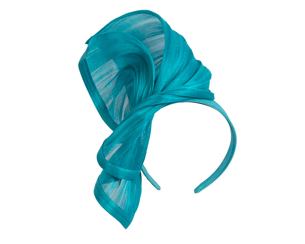 Bespoke aqua silk abaca racing fascinator by Fillies Collection