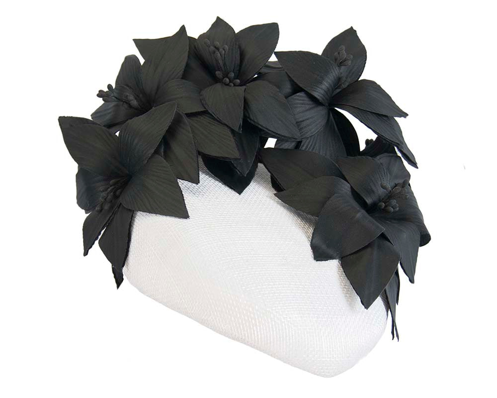 White & black pillbox with leather flowers by Fillies Collection