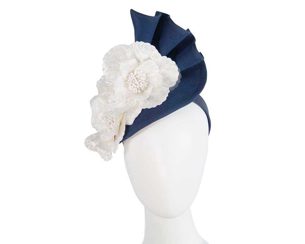 Large navy felt winter fascinator with cream flower by Fillies Collection