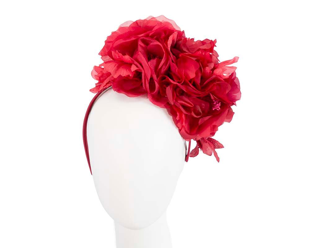 Exclusive red silk flower headband fascinator