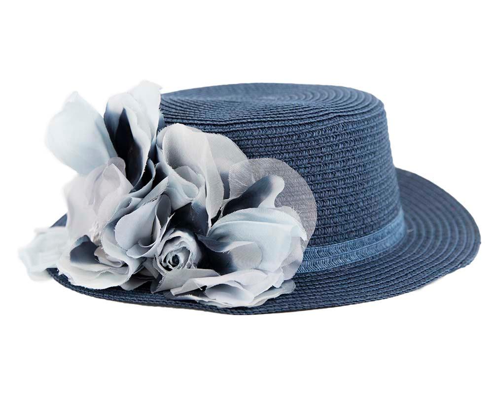 Straw navy hat with silk flower