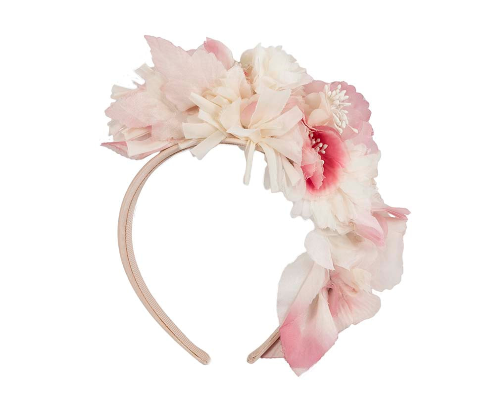 Bespoke pink silk flower headband fascinator