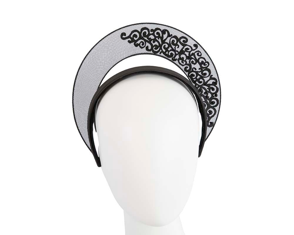 Exclusive black crown fascinator with lace